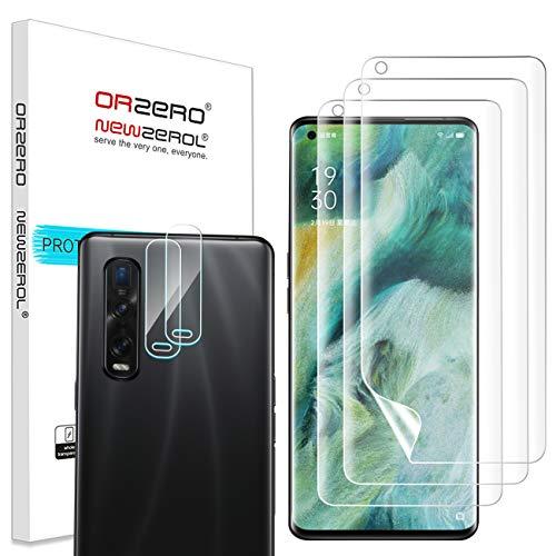 NEWZEROL 3+2 Stück Shutzfolie & Kameraschutz für Oppo Find X2 Pro 5G In-Screen Fingerabdruck-Erkennung Anti-Blasen TPU 3D Kante zu Kante [Vollständige Abdeckung]