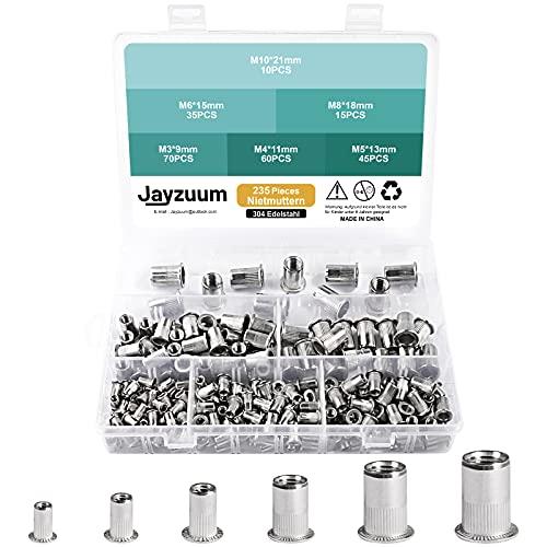 Jayzuum 235 Stück Nietmuttern Sortiment Set, M3 M4 M5 M6 M8 M10 A2-70 Edelstahl Zugnietmutter Rivet nuts Muttern mit Aufbewahrungsbox