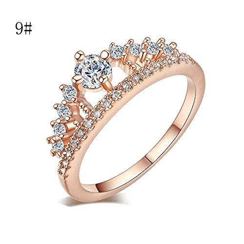 Slyar Joyería Sylar Anillo de Hombre Mujer, Crystal Crown Shiny Wedding Anillo Bridal para Mujer,Anillo en Forma Infinito con Circonita en Dorado