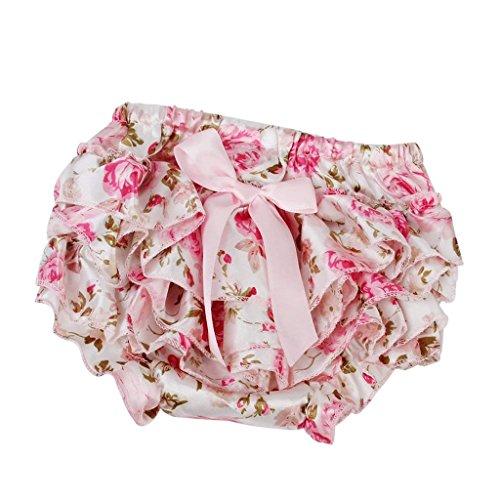 MagiDeal Bloomers Bébé Fille Pettiskirt Enfant Toddler Ruffle Pants Nappy Couvre-couche 0-2 Ans - Rose, 12-24M