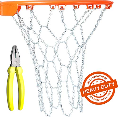 BETTERLINE Basketball Net Heavy Duty Metal Chain Replacement with 12 S-Hooks and Set of Pliers to Tighten Hooks | Rustproof Galvanized Iron 21-Inch (53 cm) Net (2.5)