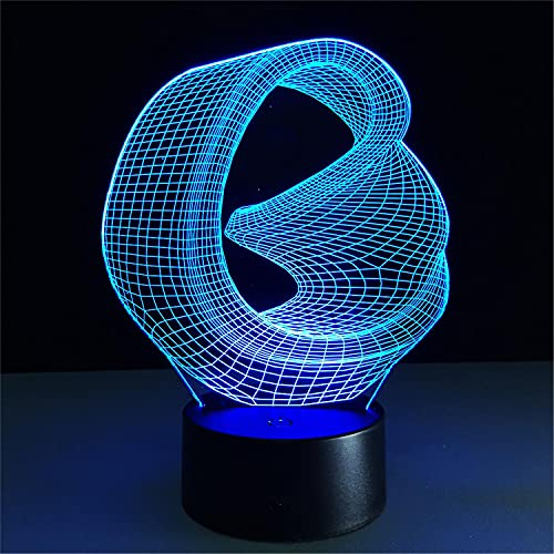 SLJZD nachtlicht Collapsed Geometric Space Model 3D Illusion Night Light Touch Switch For Bedroom Decoration 7 Colors Led Desk Lamp Girl Birthday Gift Ohne Fernbedienung