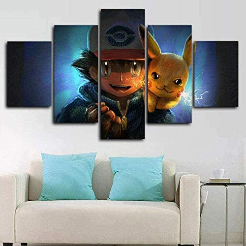 bnkrtopsu 5 Wandkunst Stück Leinwand 5 Leinwandbilder auf Leinwand für Heimdekoration und Poster Pikachu Pokemon (150x80cm Rahmenlos)