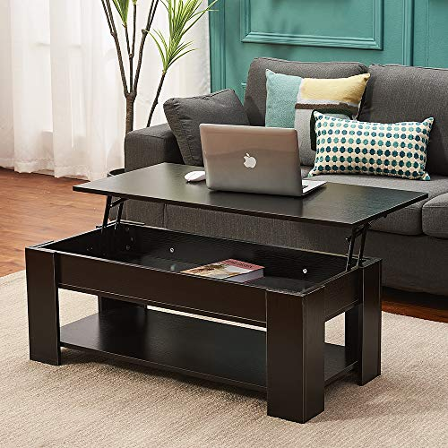 Panana Lift Up Top Coffee Table with Hidden Compartment and Shelf Wood Fold Top Expanding Side Coffee Tables Home Office Living Room Furniture Black