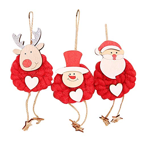 MMLsure® Filz Anhänger Weihnachten,Weihnachtskugeln mit Hackschnitzel- Christbaumanhänger Snowman, elk, Santa,3pc (Rot)