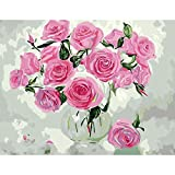 Paint by Numbers Kitspink Rosediy Acrylic Painting Kitwith Brushes and Pigment Arts Craft Canvas Painting for Kids & Adults, 16 X 20 Inch Frameless