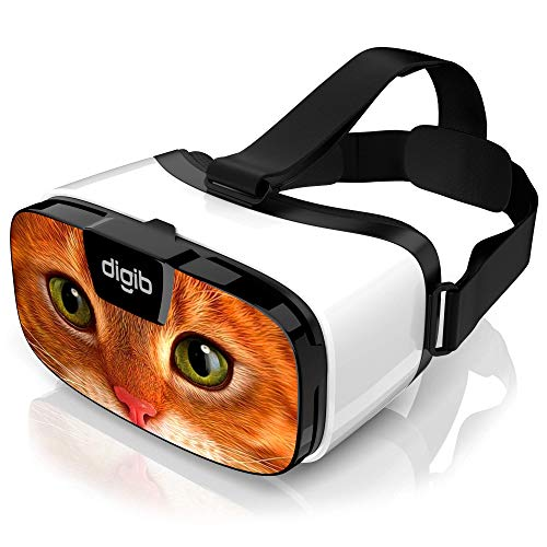 VR Headset for iPhone and Android Phones - Virtual Reality Goggles | Comfortable & Adjustable VR Glasses | Play Your Best Mobile 3D Games 360 Movies - Great Gift for Kids and Adults | Ginger Cat