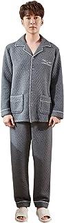 メンズコットン長袖パジャマ秋と冬のモデル厚手の暖かいパジャマセットゆったりとした快適なカジュアルウェア パジャマ (Color : Gray, Size : 180cm/xxl)