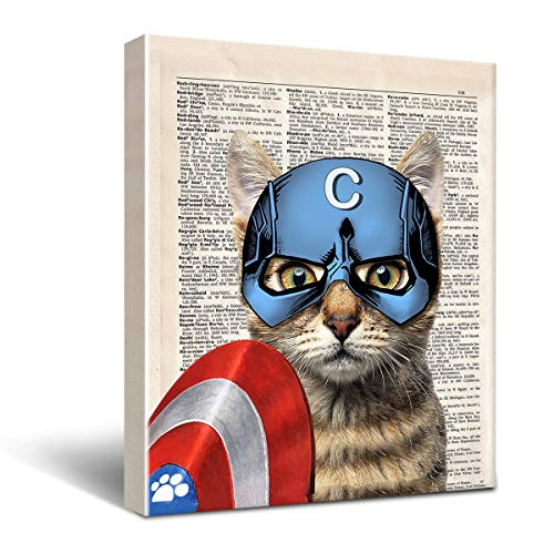 Vintage Captain Cat Canvas Wall Decor, Gift for Super Hero Fan Wall Decor Framed Wall Art Funny Cat Canvas Prints Wall Decorations Size 8x10