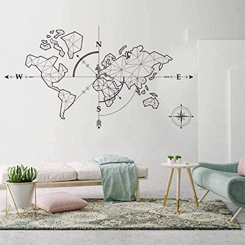 Pegatinas de pared pegatinas de diseño personalizado mapa del mundo brújula tierra pegatinas de oficina 103X57cm