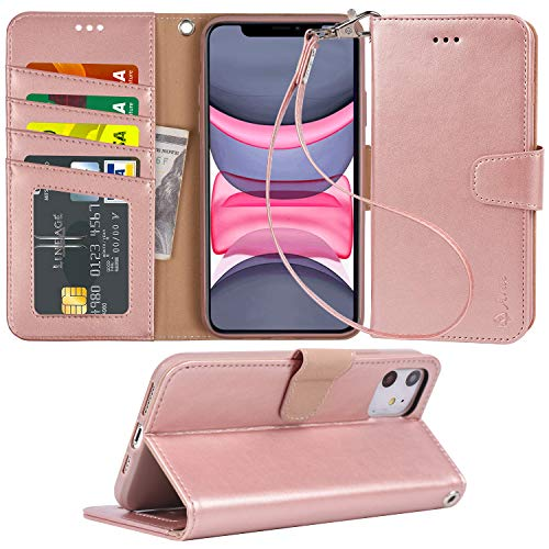 Arae Case for iPhone 11 PU Leather Wallet Case Cover [Stand Feature] with Wrist Strap and [4-Slots] ID&Credit Cards Pocket for iPhone 11 6.1 inch 2019 Released - Rosegold