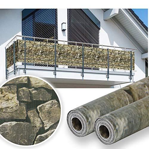 huigou HG® 2 x 35 m x 19 cm Sichtschutzstreifen Stabmattenzaun Streifen PVC Verschiedene Modelle für den Gartenzaun oder Balkon