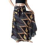 minjiSF Falda larga para mujer, informal, hippy, bohemia, gitano, bohemio, con flores, cintura elástica, con flores, para la playa Negro M