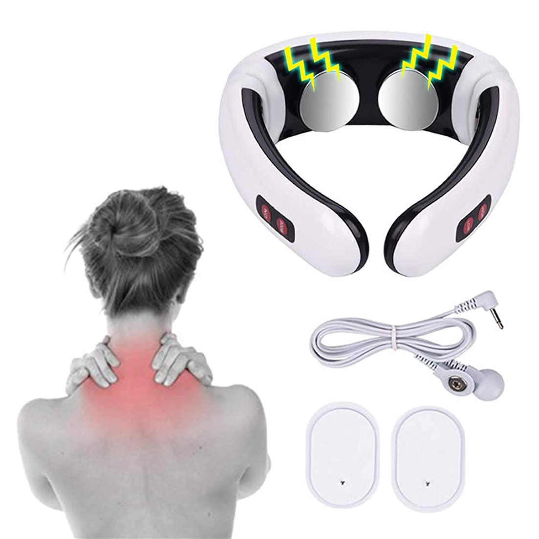 熱狂的な犯人ちっちゃい1 PC Electric Pulse Back and Neck Massager Far Infrared Pain Relief Tool Health Care Relaxation Multifunctional Physiotherap Free shipping 電気パルスバック&ネックマッサージャー