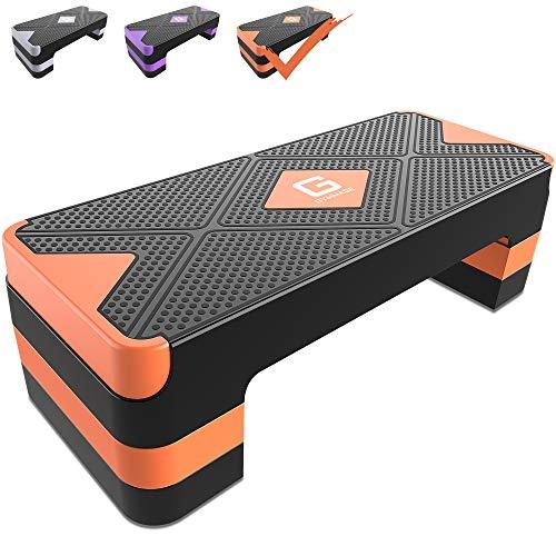 GYMMAGE ステップ台 昇降台 踏み台昇降 3段階調節 幅68cm エクササイズ フィットネス 有酸素運動 自宅トレーニング 運動不足解消 滑り止め 防音対策 (オレンジ)