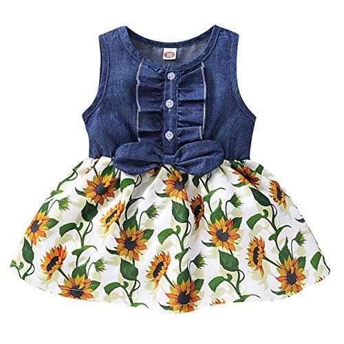 puseky Kleinkind Kinder Baby Mädchen Ärmelloses Jeanskleid Blumen Rüschen Sonnenblumenkleid