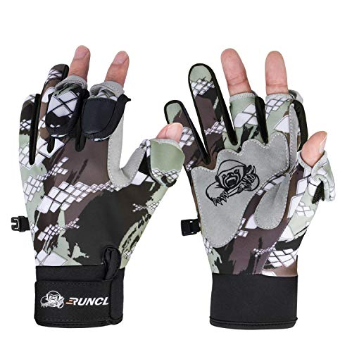 RUNCL Angelhandschuhe Winter Raguel, Touchscreen Outdoor Angeln Handschuhe, Neopren 3 Cut Finger Radfahren Handschuhe, wandelbar winddicht für Männer Frauen Eisfischen Kajak (Camouflage XS)