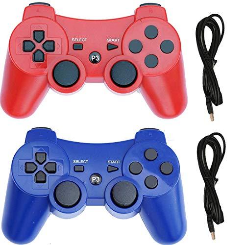 nfityle - Mando inalámbrico para PS3 Playstation 3 Dual Shock (rojo y azul)
