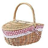 ERECL Cesta de Mimbre de Picnic Cesta con Tapa y manijas for Fiestas de picnics (Color : Natural Wood Color)