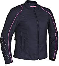 Revolution Gear Ladies Motorcycle Nylon Textile Jacket with Wing Design on Back,Gray,Size - XL
