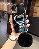 Makeup Mirror Mobile Phone Case Luxurious Bling Heart Shaped Mirror Phone Case for iPhone with Pompom Ornament, Anti-Drop Soft Heart Case-for iPhone 11 pro_Black