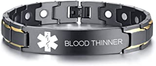 Custom Free Engraving Black Stainless Steel Magnetic Therapy Health Emergency Medical Alert ID Bracelets for Men Dad,8.6