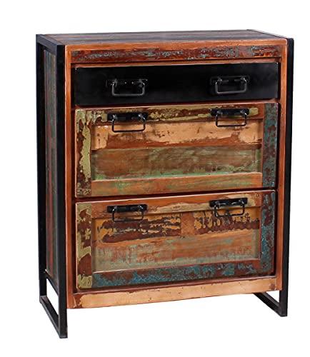 Sit Möbel Bali Schuhschrank Recyceltes Altholz mit schwarzen Altmetall und Gebrauchsspuren L = 80 x B =40 x H = 96 cm bunt mit antikschwarz