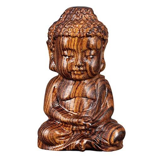 Jixista Mönch Buddha Figur Skulptur Handgeschnitzter Glücklicher Tiere Buddha Figur Skulptur Dekofigur Ornament Holz Handgefertige Glückliche Tiere Deko Figuren Wohnaccessoire