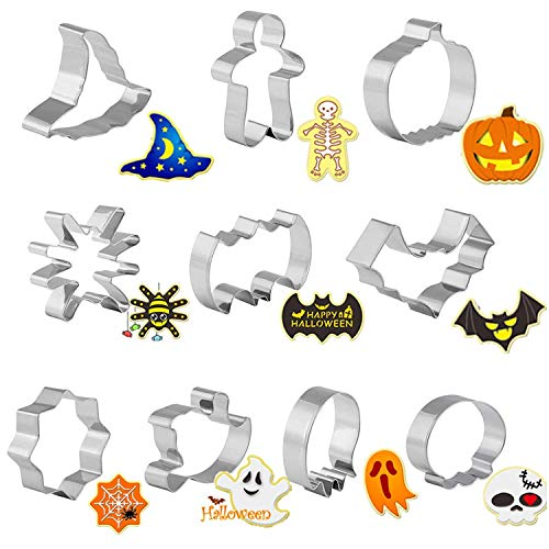 GWHOLE 10 x Halloween Cortadores Galletas Moldes de Galletas Cortador Acero inoxidable para Pastel Cookie Fondant