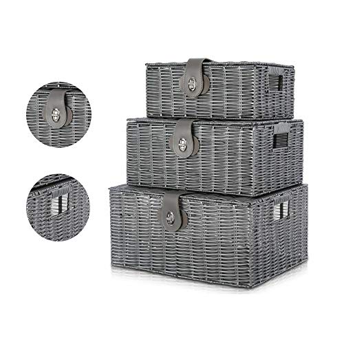 locallocal Wicker Baskets Set of 3 Storage Baskets with Lids Grey Storage Baskets, Small, Medium & Large