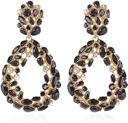 NC110 Full-diamond hollowed-out drop earrings street shot of the same ladies earrings let you shine-Black