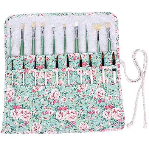 Bolsa para pinceles de pintura, 20 ranuras pintura almacenamiento cepillo para pinceles de acrílico, acuarela, aceite, dibujo, pincel