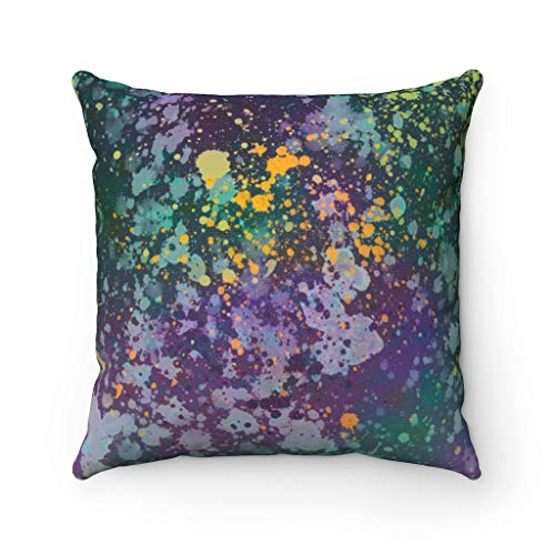 Promini Abstract Pillow Cover, Teal Green Purple, Paint Splatter, Modern Pillowcase Watercolor, Decorative Couch Pillow Throw Pillow Covers Case Cushion for Sofa Home Decor 22 x 22 Inches