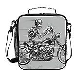 Montoj Kühltasche mit Skelett-Motiv, Motorrad-Totenkopf-Design, wasserdicht, Kühltasche