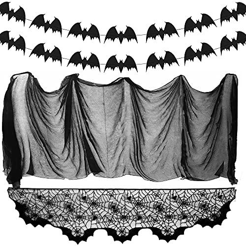 Sprinlot Telaraña Halloween, Tela de araña, Halloween Decoración Tela araña, 1 Negra de Encaje, 115g telaraña elástica, 20 murciélago, para Decoración de Halloween, Fiesta, Casa Embrujada, Chimeneas