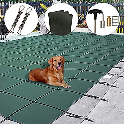 Pool Safety Cover, 16x32ft Rectangle Inground Safety Pool Cover Green Mesh Solid Pool Winter Cover for Swimming Pool, Includes All Needed Hardware