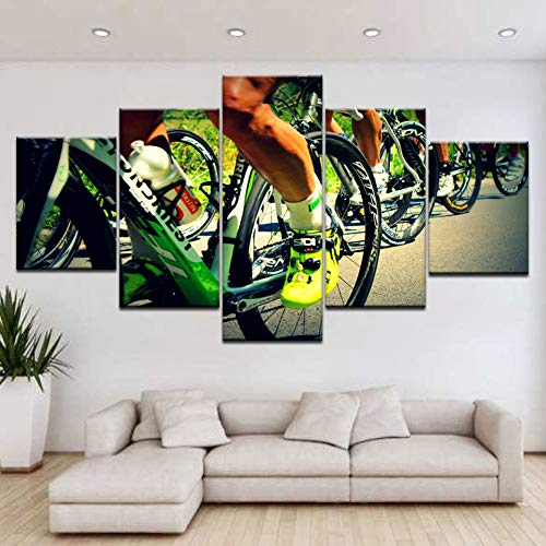 SLFWCLH Mountain Bike Bicycle Art Painting 5Panel Hd Print Sport Modern Wall Posters Canvas for Home Living Room Decoration5 Canvas Paintings No Frame