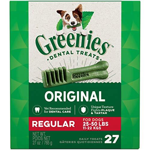 GREENIES Original Regular Natural Dog Dental Care Chews Oral Health Dog Treats, 27 oz. Pack (27 Treats)