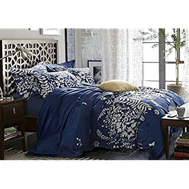 Wake In Cloud - Navy Blue Comforter Set Queen, 3-Piece Gray Floral and Tree Leaves Pattern Printed, Soft Microfiber Bedding (3pcs, Queen Size)