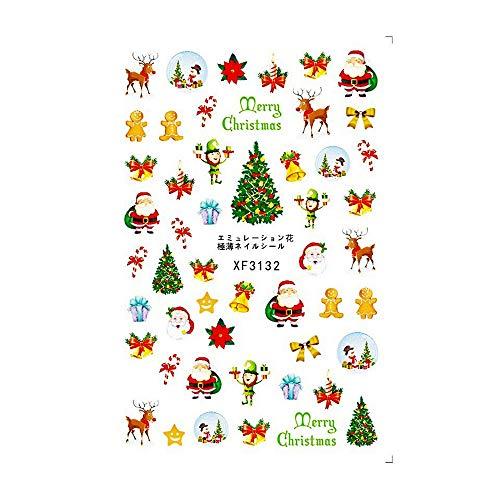 YUYOUG 1PC Stickers de Transfert de l'eau de Noël Nail Art Stickers Conseils manucure Flocon de Neige de Noël (C)