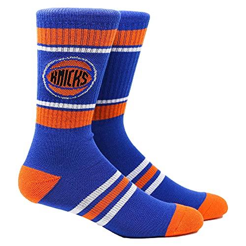 PKWY Knicks 1-Pack Crew Socks (Knicks Stripe Crew, Medium)