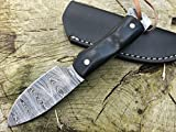 Perkin Cuchillo de Supervivencia, Caza y bushcraft Warfare Cuchillo Caza Damasco SK800