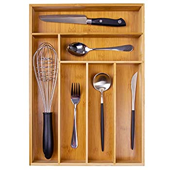 Kitchen Wood Utensil Tray Drawer Organizer Bamboo Silverware Tray for Drawer 12X17 Cutlery Organizer in Drawer Flatware Holder,Office Storage Drawer Organizers,Desk Drawer Dividers Insert