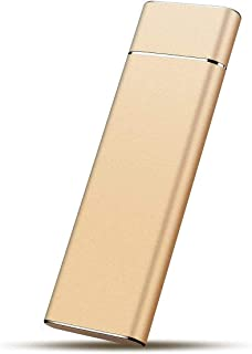 Disque Dur Externe Type C USB 3.1 Portable 1 to 2 to Disque Dur Externe Compatible pour Mac Laptop et PC Gold-2TB