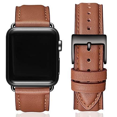 SUNFWR Lederbänder für Apple Watch Armband 44mm 42mm 40mm 38mm,Männer Frauen Ersatz-Echtlederband für iWatch Serie 6 5 4 3 2 1,SE,Sport,Edition(42mm 44mm,Braun&Schwarz Adapter)