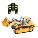 VAlinks 5 Channel Front Loader Bulldozer, RC Remote Control Fully Functional Construction Toy with 2.4Ghz Transmitter and Shovel Lights, Simulation Sound Flashing Lights for Kids Adult Gift