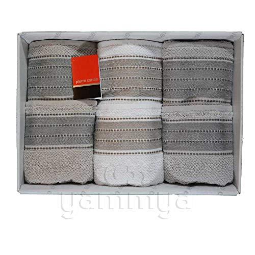 Pierre Cardin - Juego de toallas de baño 3 + 3 (3 caras y 3 invitados) modelo Carmen (beige/blanco/gris)