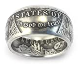 MORGAN Silver Dollar U.S. Coin Ring (Sizes 7-15) - Custom Hand Made in USA (Antiqued/Tails)