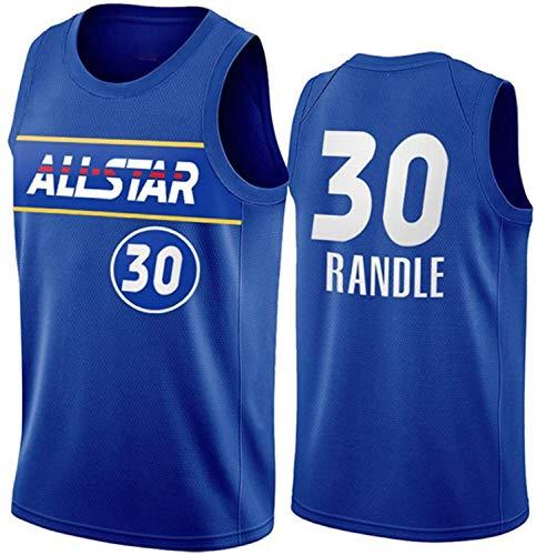 XSJY Ropa De Baloncesto para Hombres, NBA New York Knicks # 30 Julius Randle Classic Jersey, Vintage Cool Tela Transpirable All-Star Unisex Uniforme,S:165~170cm/50~65kg