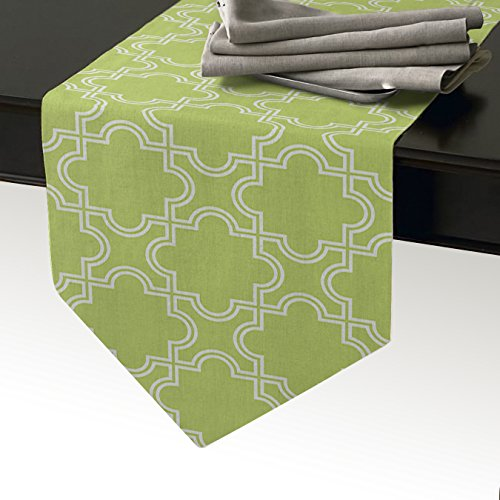 Cotton Linen Burlap Table Runner 72inch, Moroccan Trellis lime Green Pattern, for Wedding Party Holiday Dinner Home Decor